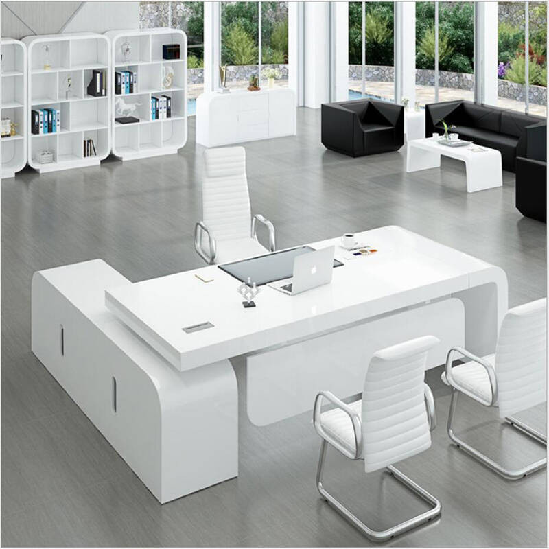 l shape executive office table white office desk with cabinet